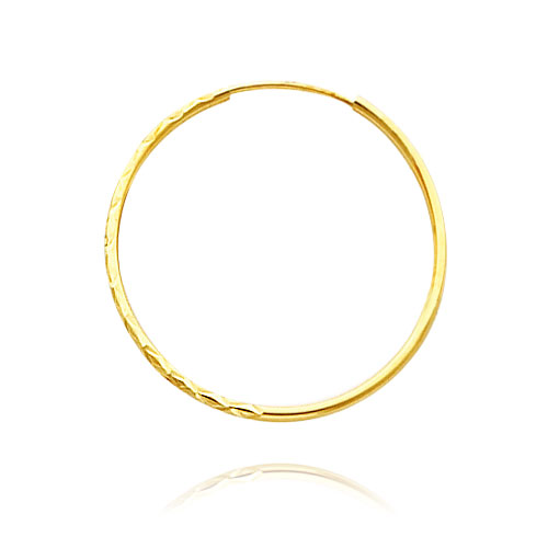 14K Yellow Gold 1.3x25mm Diamond Cut Endless Hoops. Price: $71.24