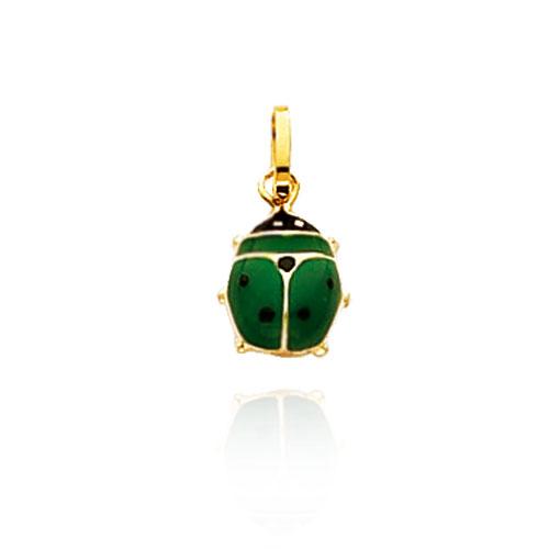 14K Yellow Gold Green Enameled Ladybug Charm. Price: $36.12