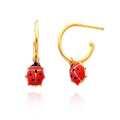 14K Yellow Gold Enameled Ladybug C-Hoop Earrings. Price: $102.46