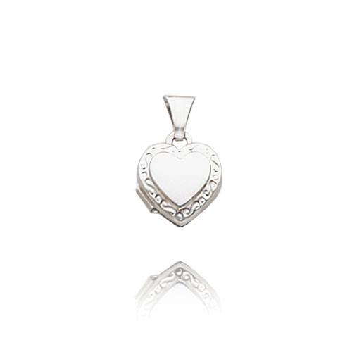 14K White Gold Small Heart-Shaped Scroll Locket. Price: $79.28