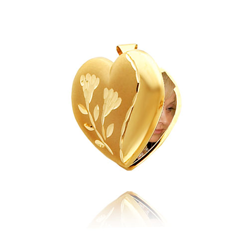 14K Yellow Gold Satin & Polished Heart-Shaped Locket. Price: $265.10