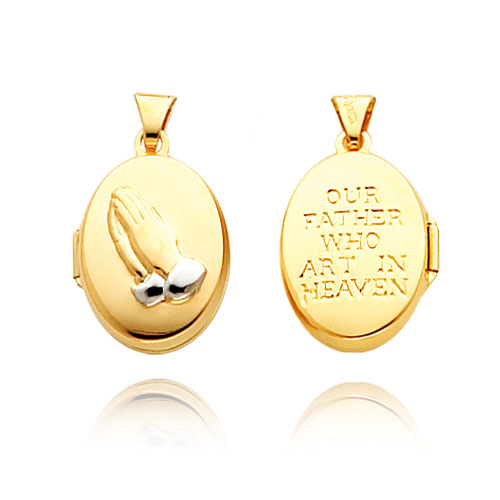 14K Yellow Gold & Rhodium Oval-Shaped Reversible Praying Hands Locket. Price: $93.96