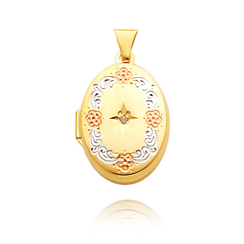 14K Yellow Gold & Rhodium Oval-Shaped Diamond-Accented Locket. Price: $215.94