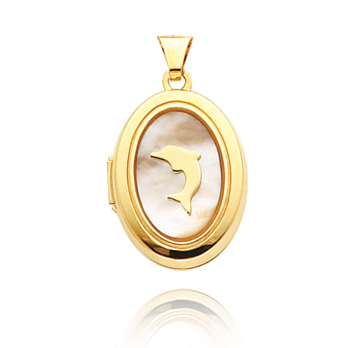 14K Yellow Gold 21mm Oval-Shaped Dolphin & Mother of Pearl Locket. Price: $238.28