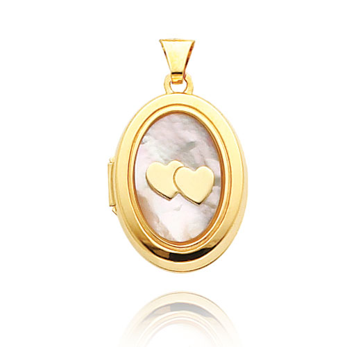 14K Yellow Gold Oval-Shaped Double Heart Mother of Pearl Locket. Price: $223.32