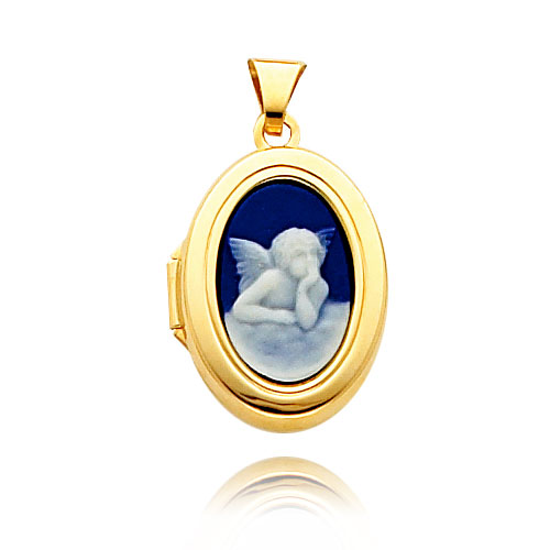 14K Yellow Gold Oval-Shaped Blue Angel Cameo Locket. Price: $215.90
