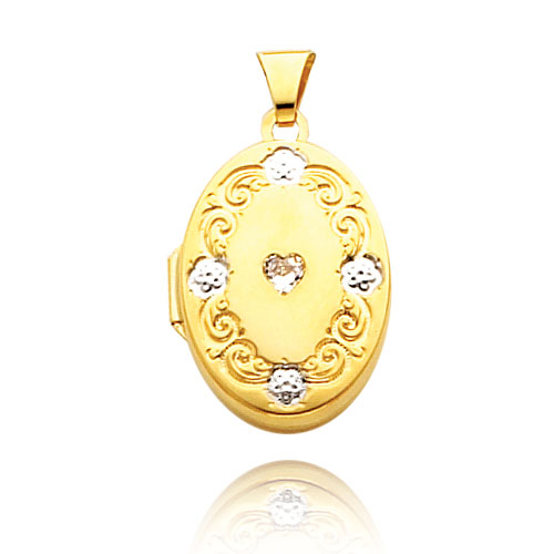 14K Yellow Gold & Rhodium Heart-Shaped CZ Scroll Trim Locket. Price: $215.54