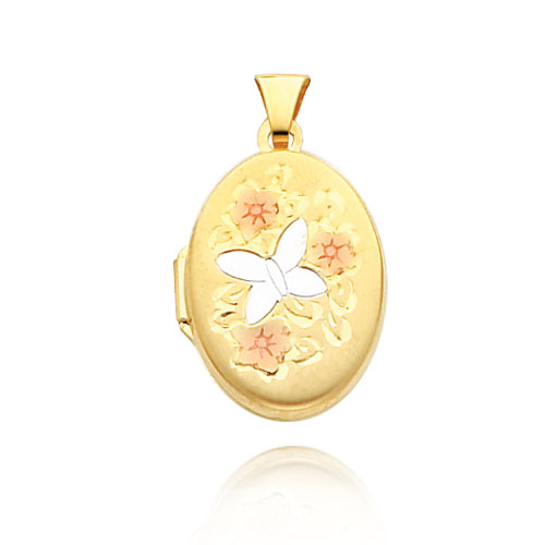 14K Yellow Gold & Rhodium 21mm Floral Butterfly Locket. Price: $208.52