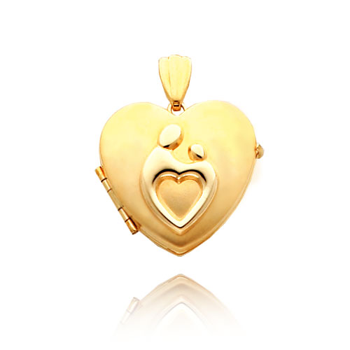 14K Yellow Gold Heart-Shaped Mother & Child Family Locket. Price: $416.99
