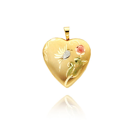 14K Yellow Gold & Rhodium Enameled Bird & Flower Heart-Shaped Locket. Price: $213.86