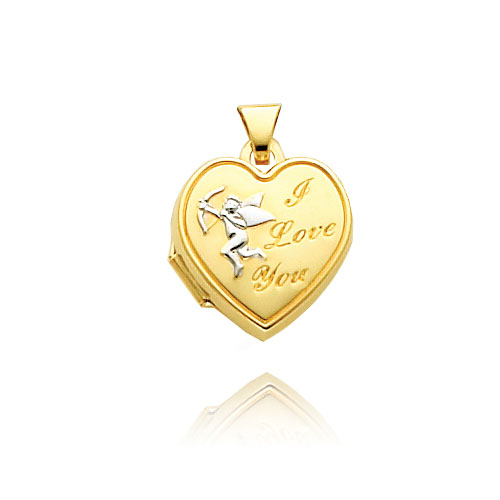 "14K Yellow Gold & Rhodium Heart-Shaped ""I Love You"" Cupid Locket. Price: $125.36"