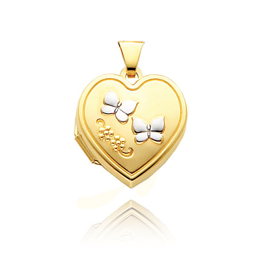 14K Yellow Gold & Rhodium Double Butterfly Heart-Shaped Locket. Price: $168.66