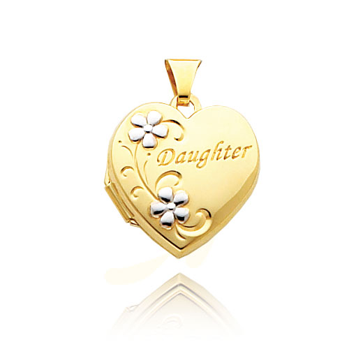 "14K Yellow Gold & Rhodium Heart-Shaped ""Daughter"" Floral Locket. Price: $225.16"