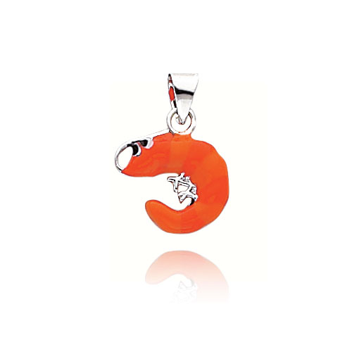 14K White Gold Enameled Shrimp Pendant. Price: $126.96