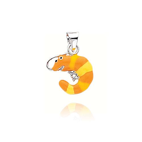14K White Gold 3D Enameled Shrimp Pendant. Price: $133.84