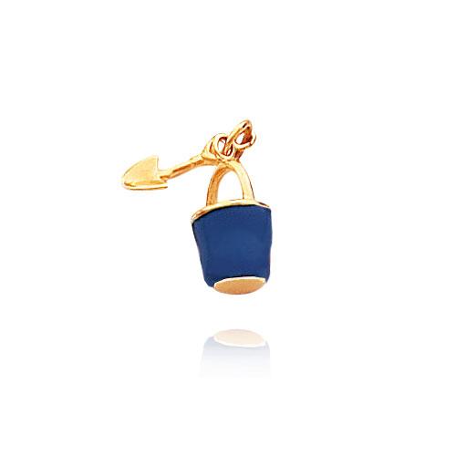 14K Yellow Gold Blue Enameled Pail & Shovel Charm. Price: $99.34