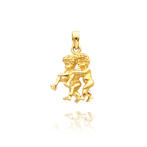 14K Yellow Gold 3D Gemini Zodiac Pendant. Price: $181.62