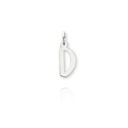 """14K White Gold Small Slanted Block Initial """"D"""" Charm. Price: $20.76"""