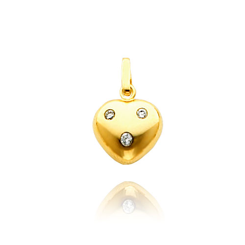 14K Yellow Gold CZ Puffed Heart Charm. Price: $81.60