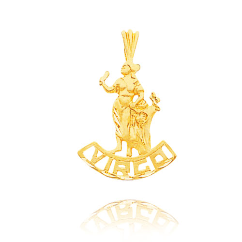 14K Yellow Gold Virgo Banner Zodiac Pendant. Price: $112.88