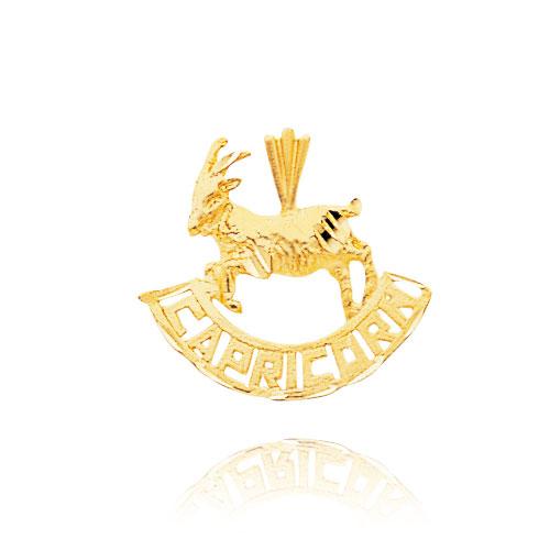 14K Yellow Gold Capricorn Banner Zodiac Pendant. Price: $123.36