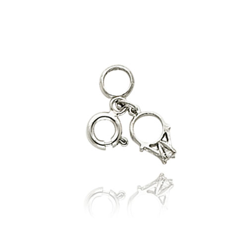 14K White Gold CZ Wedding Rings Charm. Price: $59.54