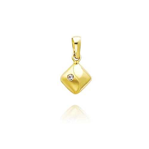 14K Yellow Gold Satin & Polished Diamond-Shaped CZ Charm. Price: $66.52