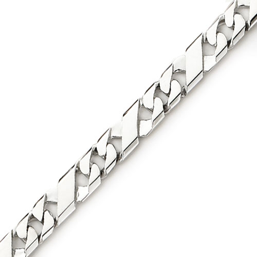 "14K White Gold 6mm Fancy Curb ""X""-Style Link Bracelet. Price: $1233.88"