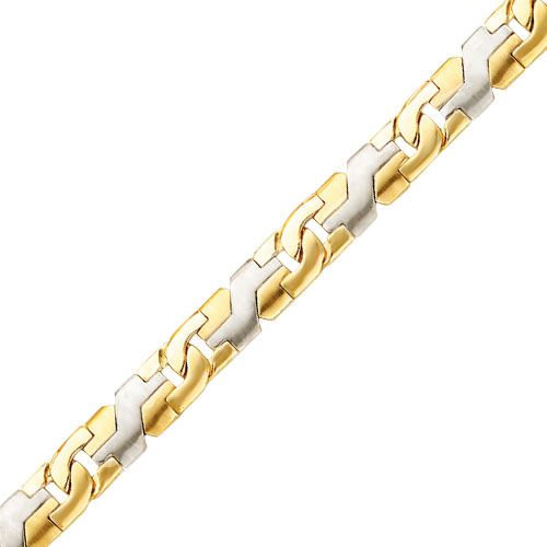 14K Two-Tone 8.35mm Fancy Geometric Link Link Bracelet. Price: $2384.30