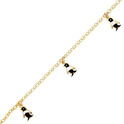 14K Yellow Gold Dangling Enameled Penguin Anklet. Price: $344.64