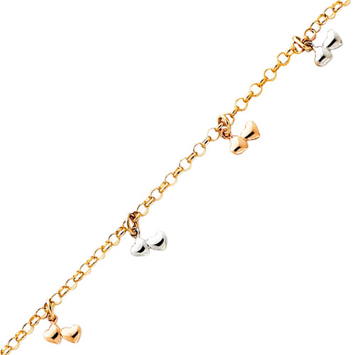 14K Tri-Color Gold Dangling Heart Anklet. Price: $359.89