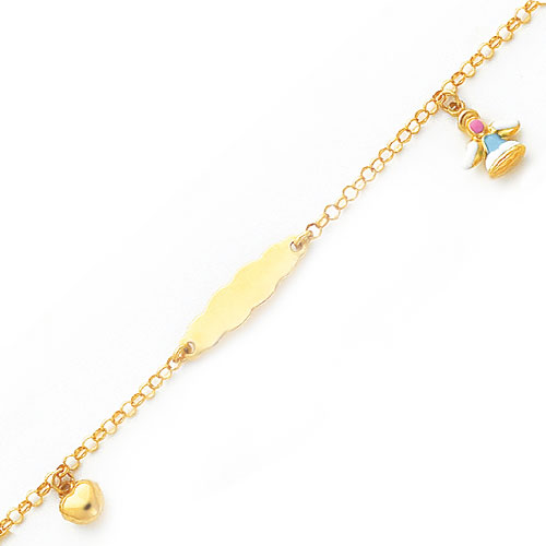 14K 5.5in Polished Heart & Angel Baby/Child ID Bracelet. Price: $199.30