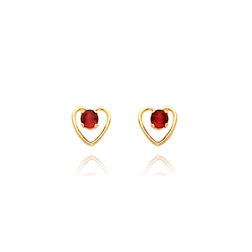 14K Gold 3mm Garnet Birthstone Heart Earrings. Price: $48.54