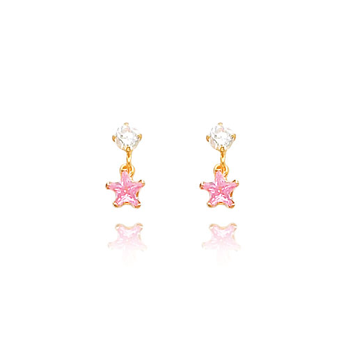 14K Gold 3mm CZ with Dangling Pink CZ Star Earrings. Price: $61.42