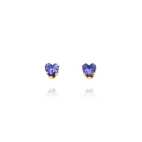 14K Gold 4mm Violet CZ Heart Earrings. Price: $40.06