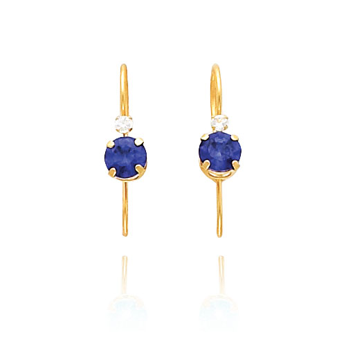 14K Gold Wire Purple CZ and Clear CZ Earrings. Price: $63.56