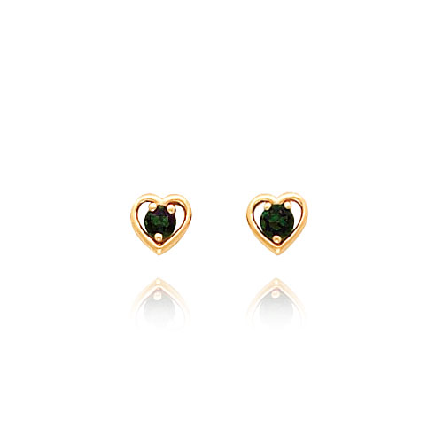 14K Gold 3mm Mystic Topaz Birthstone Heart Earrings. Price: $69.82