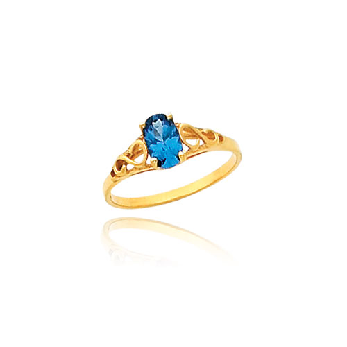 14K Gold Synthetic Blue Zircon Ring. Price: $125.50