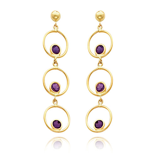 14K Gold Amethyst Triple Drop Circle Dangle Post Earrings. Price: $239.42