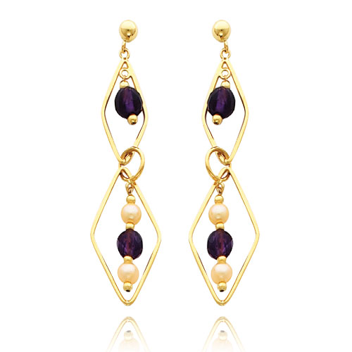 14K Gold Cultured Pearl And Amethyst Geometric Shape Dangle Earrings. Price: $259.42