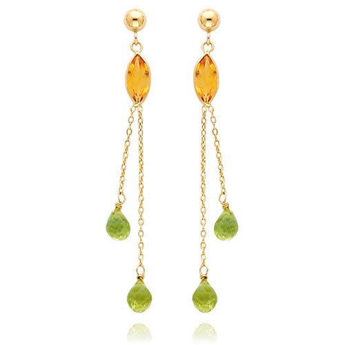 14K Gold Citrine And Peridot Post Dangle Earrings. Price: $233.44