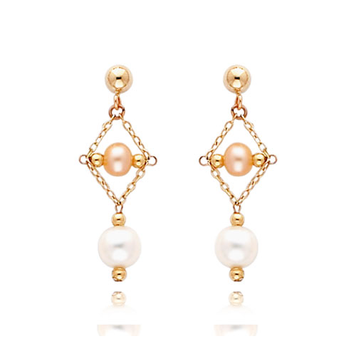 14K White Gold And Pink Pearl Tier Post Dangle Earrings. Price: $106.72