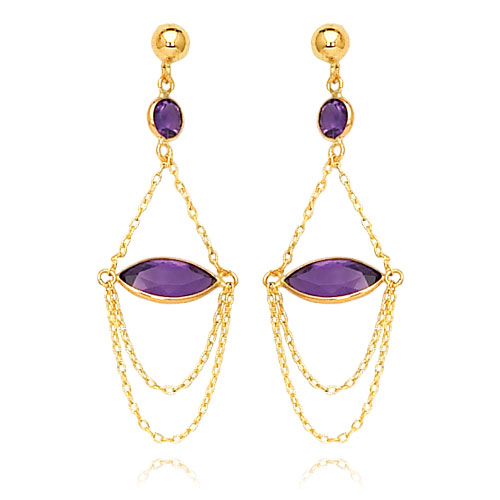 14K Amethyst Post Dangle Earrings. Price: $273.08