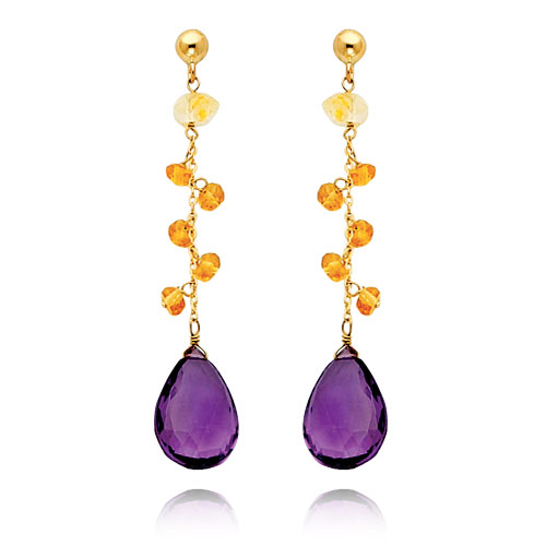14K Gold  Citrine And Amethyst Dangle Earring. Price: $282.18