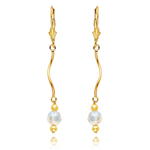 14K Gold  Aurore Boreale Crystal Bead Leverback Earrings. Price: $103.92