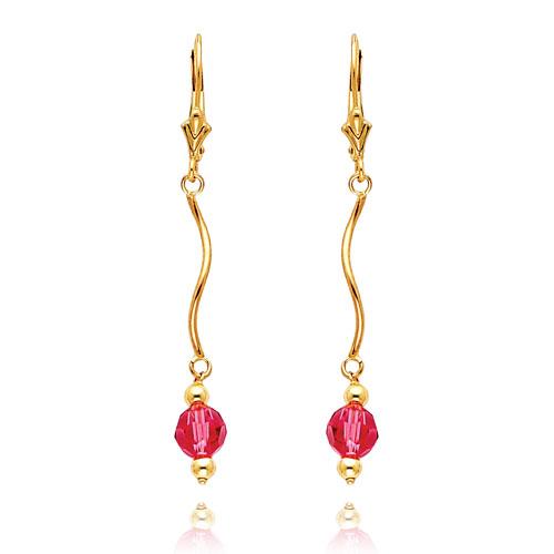 14K Gold  Rose Crystal Bead Leverback Earrings. Price: $92.00