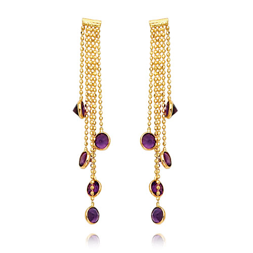 14K Gold Amethyst Gemstone Dangle Earrings. Price: $309.58