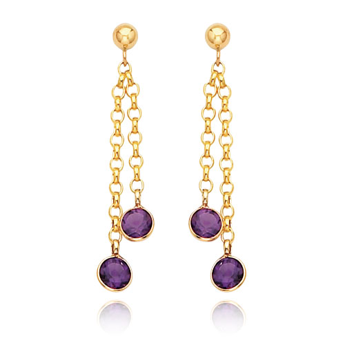 14K Gold  Amethyst Dangle Earrings. Price: $208.72