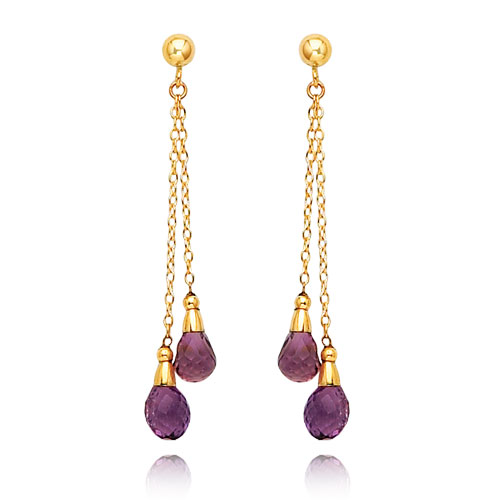 14K Gold Amethyst Dangle Earrings. Price: $212.20