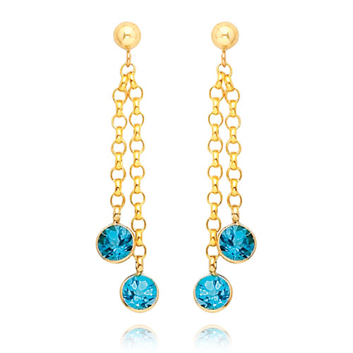 14K Gold  Blue Topaz Dangle Earrings. Price: $208.72
